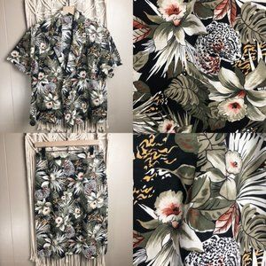 Vintage two piece rain forest skirt and top set M